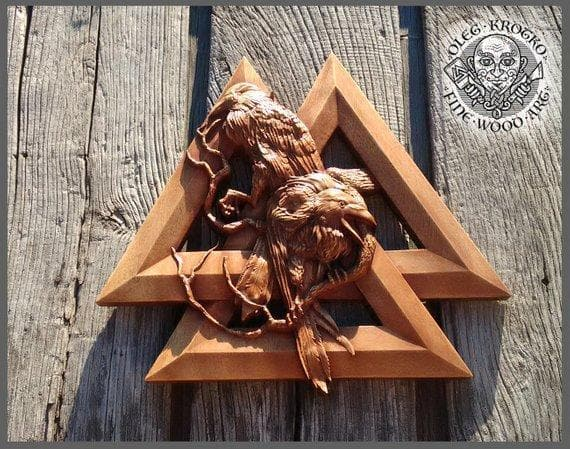 Huginn and Munning Odin's Raven's Valknut Wood Carving