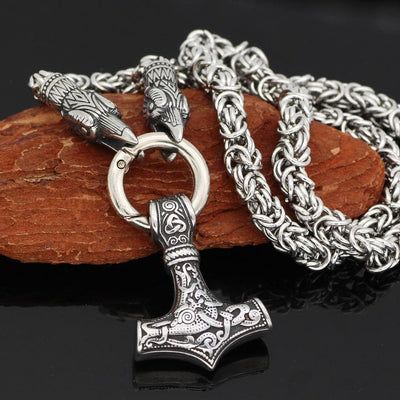 Viking Huginn Munnin Head Stainless Steel Necklace with Mjolnir Pendant Ancient Treasures Ancientreasures Viking Odin Thor Mjolnir Celtic Ancient Egypt Norse Norse Mythology