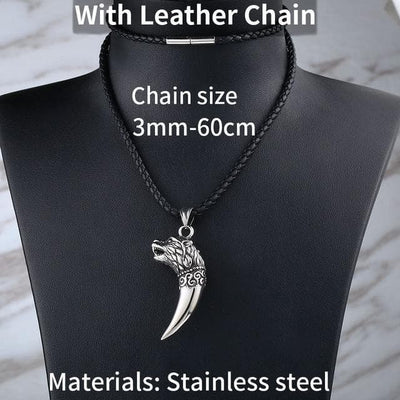 Viking Leather Cord Stainless Steel Antique Wolf Fang Pendant Necklace Ancient Treasures Ancientreasures Viking Odin Thor Mjolnir Celtic Ancient Egypt Norse Norse Mythology