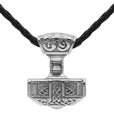 Viking Leather Cord Stainless Steel Thor's Hammer Mjolnir Pendant Necklace Ancient Treasures Ancientreasures Viking Odin Thor Mjolnir Celtic Ancient Egypt Norse Norse Mythology
