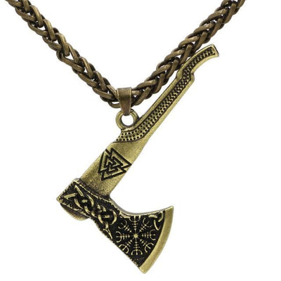 Viking Metal Chain / Golden Valknut Nordic Axe Necklace Ancient Treasures Ancientreasures Viking Odin Thor Mjolnir Celtic Ancient Egypt Norse Norse Mythology