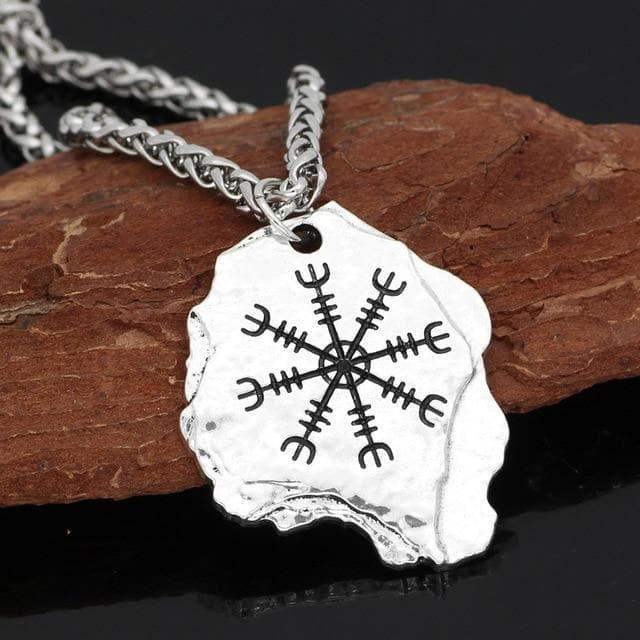Viking Metal-chain-silver Aegishjalmr The Helm of Awe Necklace
