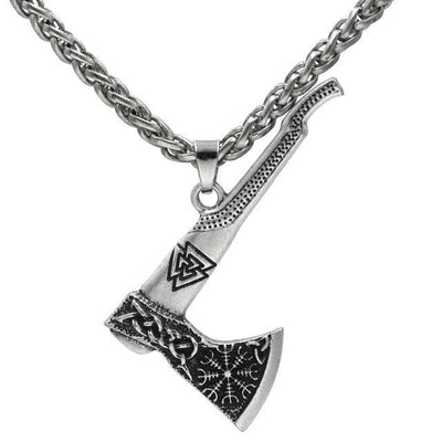 Viking Metal Chain / Silver Valknut Nordic Axe Necklace Ancient Treasures Ancientreasures Viking Odin Thor Mjolnir Celtic Ancient Egypt Norse Norse Mythology
