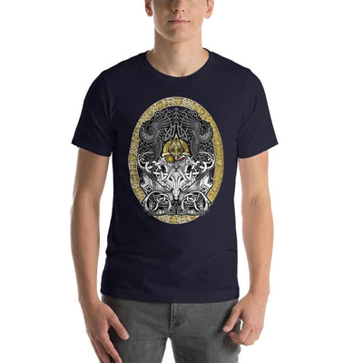 Viking Navy / S Odinn Alfather Viking T-Shirt by CelticHammerClub Ancient Treasures Ancientreasures Viking Odin Thor Mjolnir Celtic Ancient Egypt Norse Norse Mythology