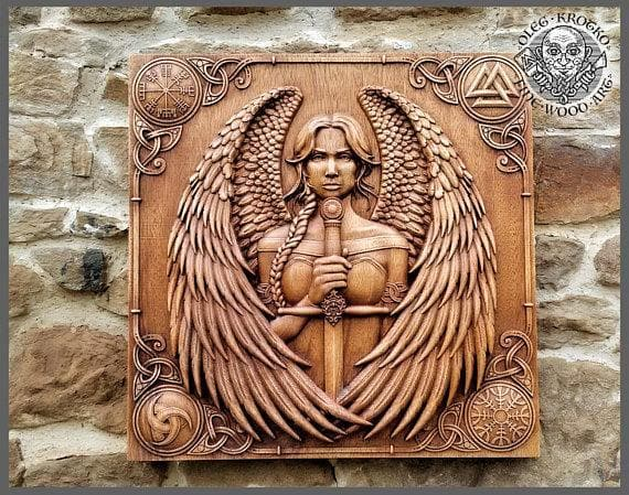 Norse Mythology Valkyrie Fine Wood Carving