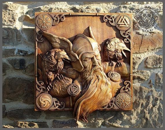 Odin and his Ravens 3D Fine Wood Carving