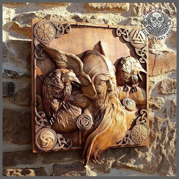 Odin and his Ravens 3D Fine Wood Carving - Ancient Treasures