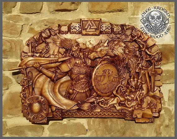 Odin Fights Fenrir in Ragnarok Norse Mythology Fine Wood Carving