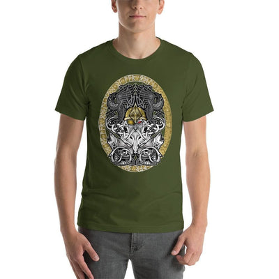 Viking Olive / S Odinn Alfather Viking T-Shirt by CelticHammerClub Ancient Treasures Ancientreasures Viking Odin Thor Mjolnir Celtic Ancient Egypt Norse Norse Mythology