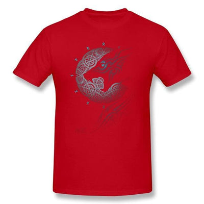 Viking Red / S Fenrir Viking T-Shirt Ancient Treasures Ancientreasures Viking Odin Thor Mjolnir Celtic Ancient Egypt Norse Norse Mythology