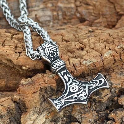 Viking Silver / 60 CM / 23 IN Viking Mjolnir Stainless Steel Necklace