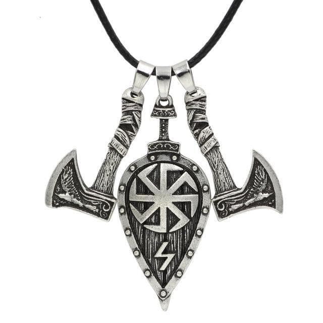 Axes and Shield Viking Necklace
