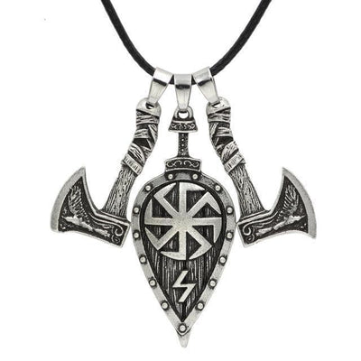 Viking Silver Plating Axes and Shield Viking Necklace Ancient Treasures Ancientreasures Viking Odin Thor Mjolnir Celtic Ancient Egypt Norse Norse Mythology