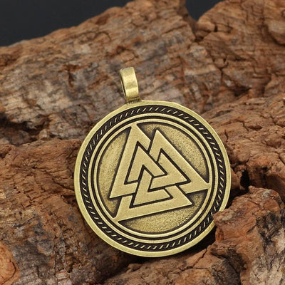 Viking Silver Viking Necklace Runes and Valknut Symbols