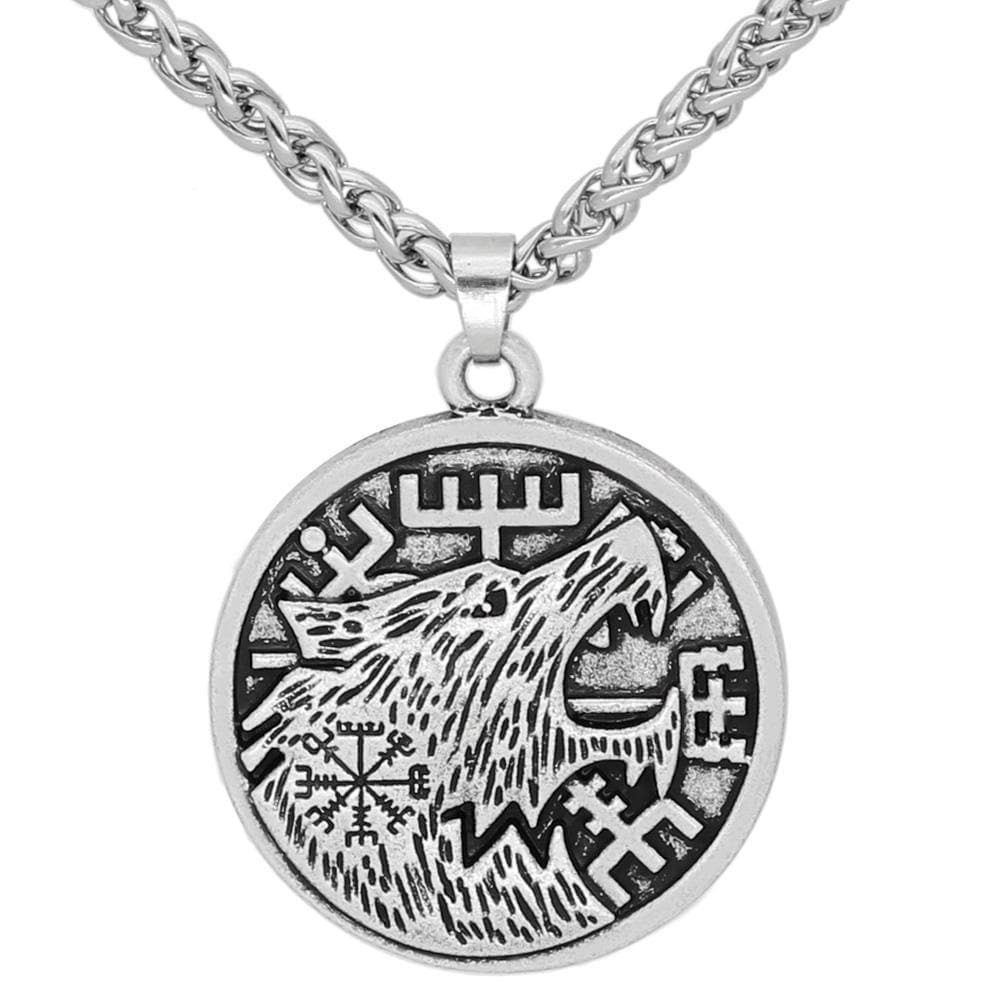 Viking Silver Zinc Alloy Fenrir and Vegvisir Necklace