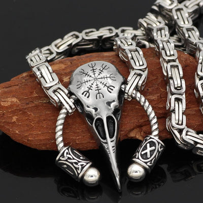 Viking Stainless Steel King Chain With Runic Raven Skull Pendant Ancient Treasures Ancientreasures Viking Odin Thor Mjolnir Celtic Ancient Egypt Norse Norse Mythology