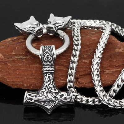 Viking Stainless Steel Mjolnir Wolf-Head Chain Ancient Treasures Ancientreasures Viking Odin Thor Mjolnir Celtic Ancient Egypt Norse Norse Mythology