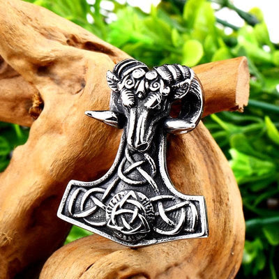 Viking Stainless Steel Thor's Goat Tanngrisnir Mjolnir Pendant Necklace Ancient Treasures Ancientreasures Viking Odin Thor Mjolnir Celtic Ancient Egypt Norse Norse Mythology