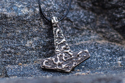 Viking Sterling Silver Mjolnir Pendant with Rough Design Ancient Treasures Ancientreasures Viking Odin Thor Mjolnir Celtic Ancient Egypt Norse Norse Mythology