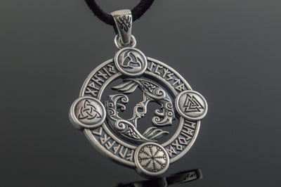 Viking Sterling Silver Pendant with Odin's Raven and Norse Symbols Ancient Treasures Ancientreasures Viking Odin Thor Mjolnir Celtic Ancient Egypt Norse Norse Mythology