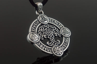 Viking Sterling Silver Pendant with Yggdrasil and Norse Symbols Ancient Treasures Ancientreasures Viking Odin Thor Mjolnir Celtic Ancient Egypt Norse Norse Mythology