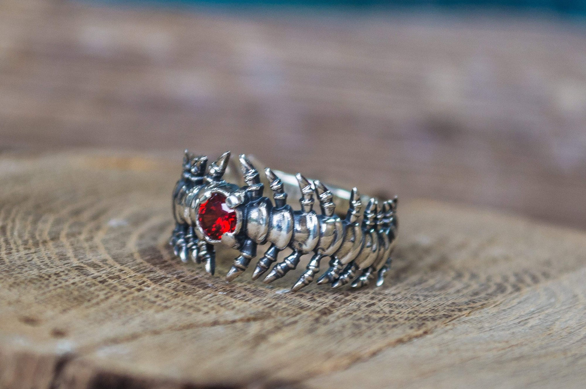 Viking Sterling Silver Ring with Backbone and Garnet Design Ancient Treasures Ancientreasures Viking Odin Thor Mjolnir Celtic Ancient Egypt Norse Norse Mythology