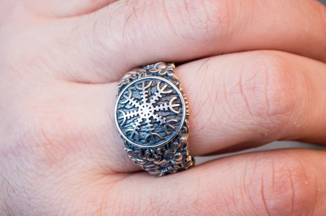 Sterling Silver Ring with Helm of Awe, Oak Leaves and Acorns Symbol ...