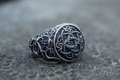 Viking Sterling Silver Ring with Jormungandr Symbol Ancient Treasures Ancientreasures Viking Odin Thor Mjolnir Celtic Ancient Egypt Norse Norse Mythology