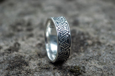 Viking Sterling Silver Ring with Valknut Symbols Ancient Treasures Ancientreasures Viking Odin Thor Mjolnir Celtic Ancient Egypt Norse Norse Mythology