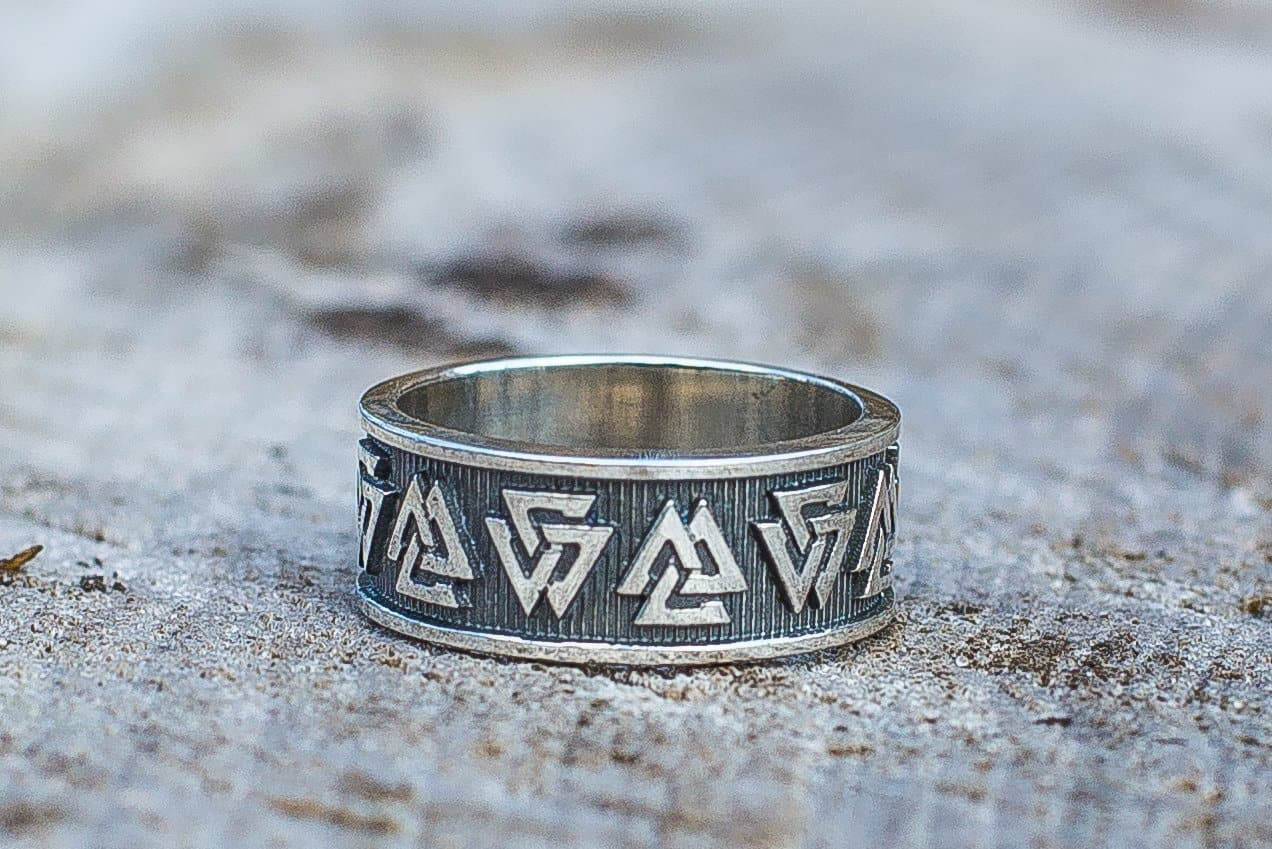 Viking Valknut Symbol Handcrafted Ring