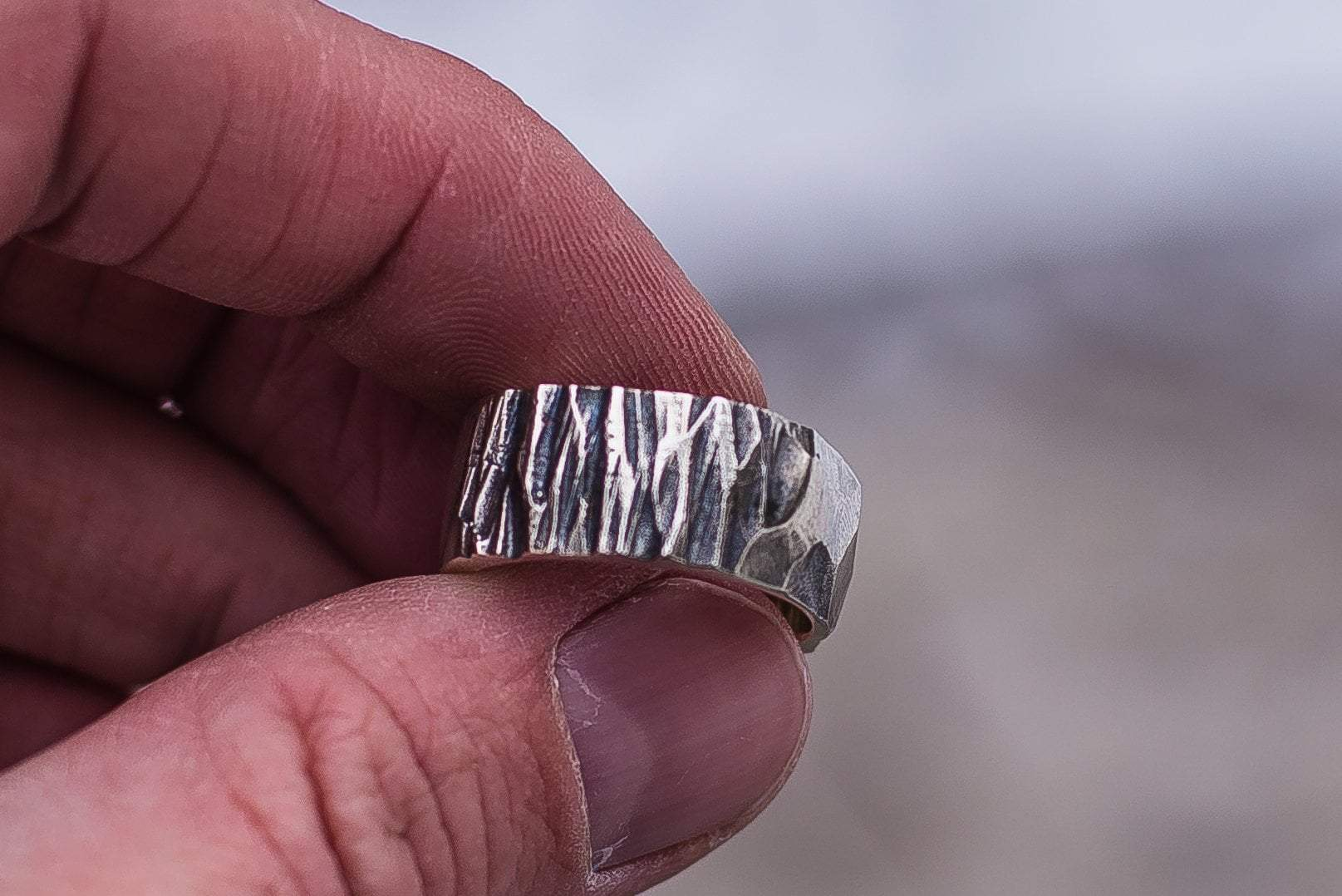 Vikings Wood and Stone Textured Sterling Silver Ring