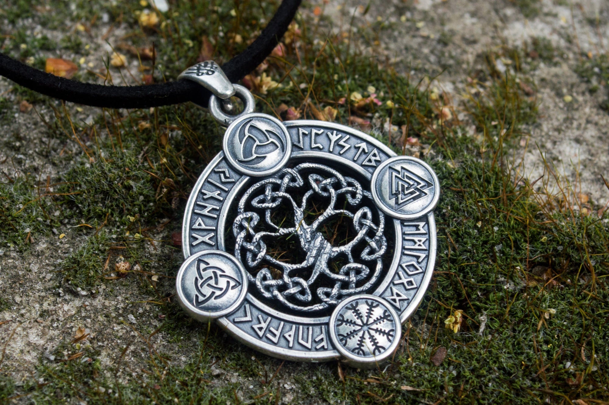 Viking Yggdrasil - The Wold Tree Pendant with Norse Symbols & Runes