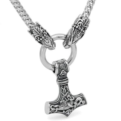 Viking Style 2 Stainless Steel Mjolnir Wolf-Head Chain Ancient Treasures Ancientreasures Viking Odin Thor Mjolnir Celtic Ancient Egypt Norse Norse Mythology