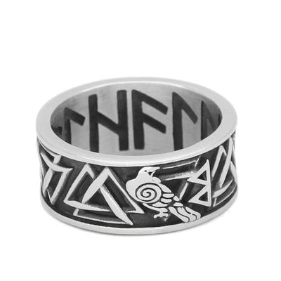 Viking US 9 / Silver Viking Runic Raven Ring