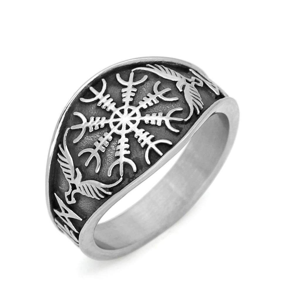 Stainless Steel Viking Helm of Awe Ring