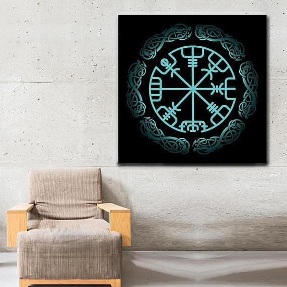 Viking Vegvisir Viking Symbol Framed Canvas Ancient Treasures Ancientreasures Viking Odin Thor Mjolnir Celtic Ancient Egypt Norse Norse Mythology