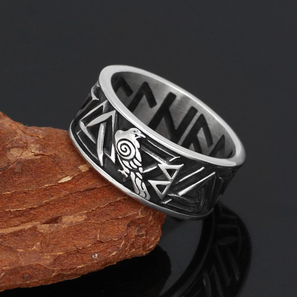Viking Runic Raven Ring