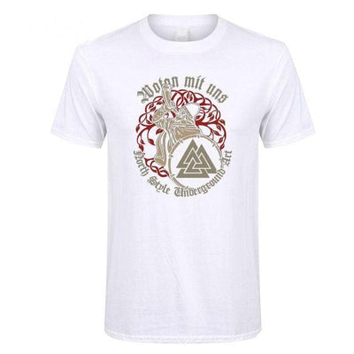 Viking White / XS Wotan Mit Uns - Odin is with us Viking T Shirt Ancient Treasures Ancientreasures Viking Odin Thor Mjolnir Celtic Ancient Egypt Norse Norse Mythology