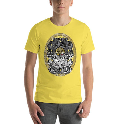 Viking Yellow / S Odinn Alfather Viking T-Shirt by CelticHammerClub Ancient Treasures Ancientreasures Viking Odin Thor Mjolnir Celtic Ancient Egypt Norse Norse Mythology