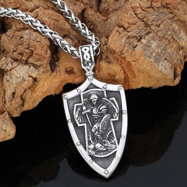 Vikings And Nordic Metal-chain / 60cm Viking St. Michael Arch Angel Cross Shield Necklace