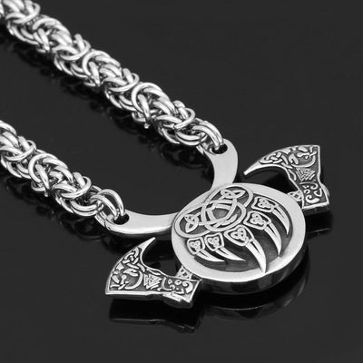 Vikings And Nordic Silver Plated / 60cm Viking Valknut Bear Paw Axe Necklace