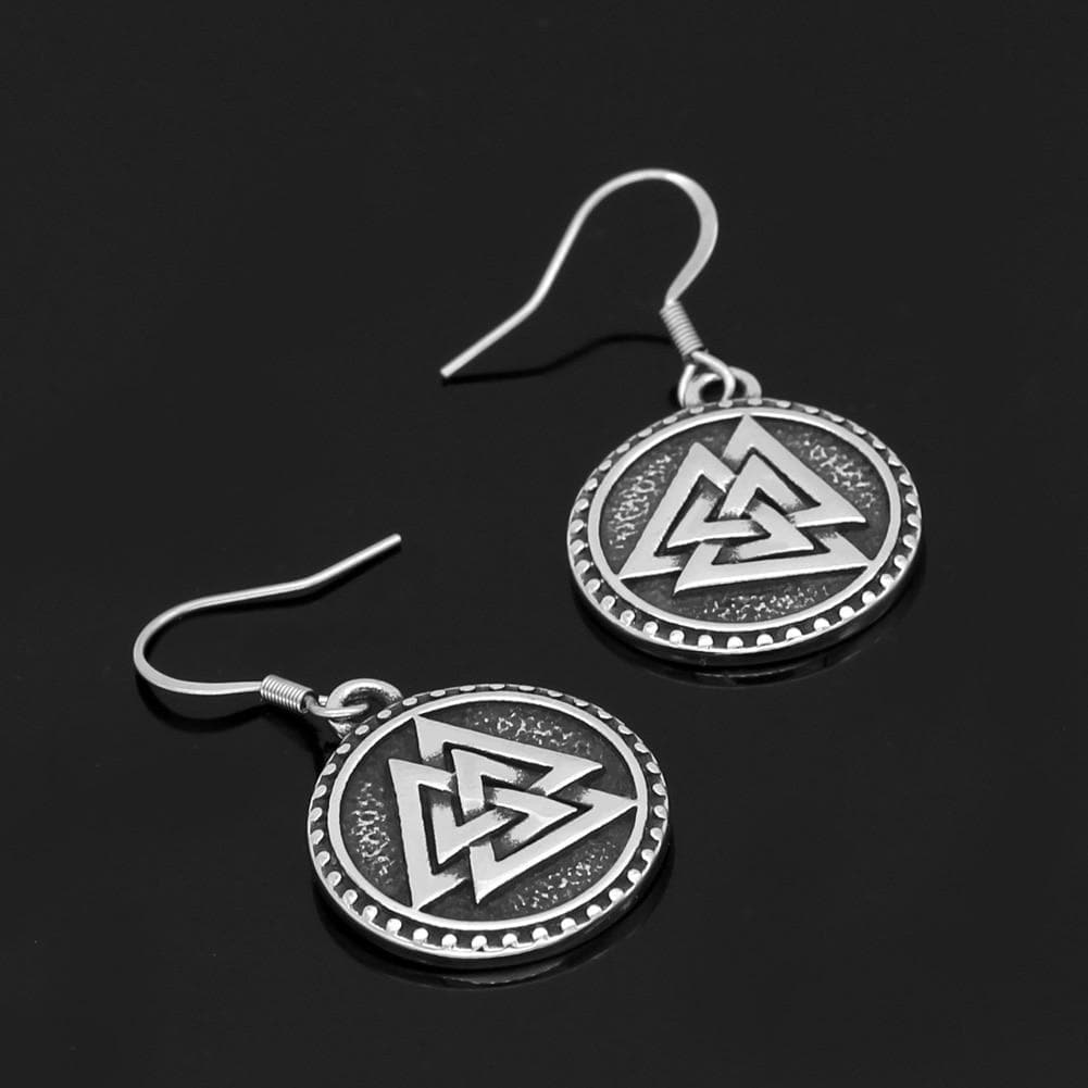 Vikings And Nordic Silver Viking Valknut Earrings