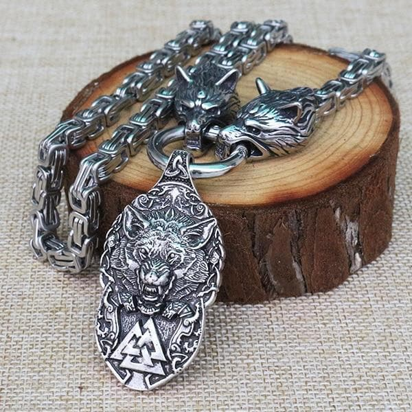 Vikings And Nordic Small Viking Wolf Pendant Necklace