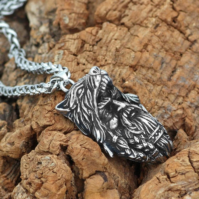 Vikings And Nordic Viking Amulet Odin Wolf Head Necklace