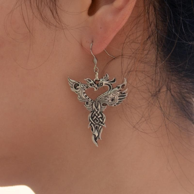 Vikings And Nordic Viking Head to Head Dragon Earrings