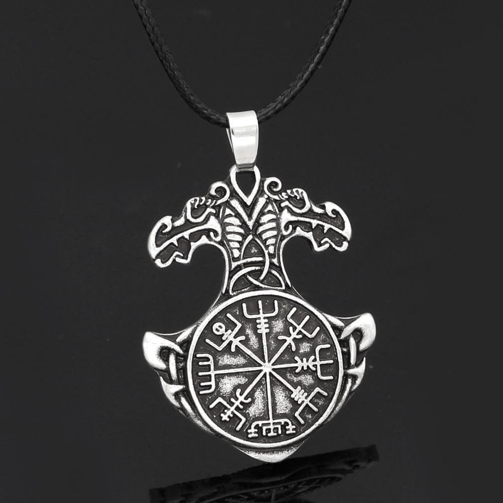 Viking Mjolnir Vegvisir Amulet Necklace