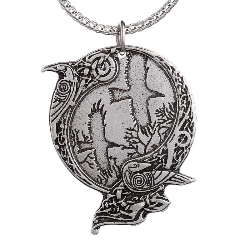 Vikings And Nordic Viking Odin's Raven Double Side Necklace