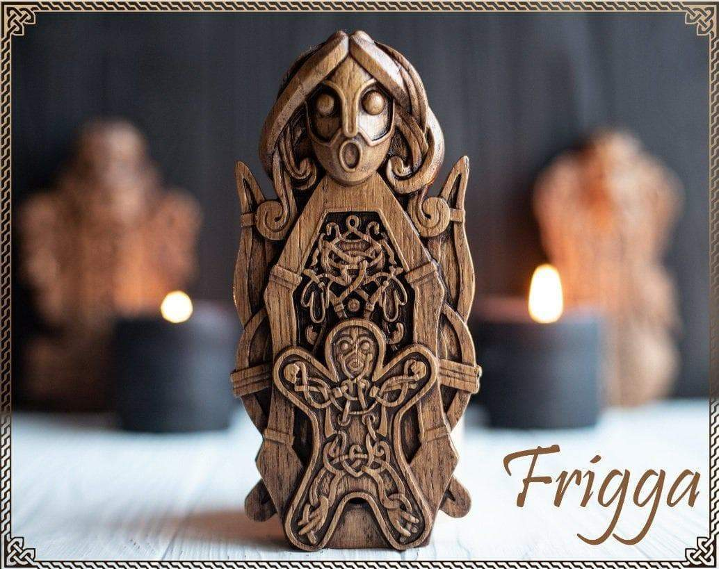 Vikings Frigg Oak Wood Home Altar Statue Ancient Treasures Ancientreasures Viking Odin Thor Mjolnir Celtic Ancient Egypt Norse Norse Mythology