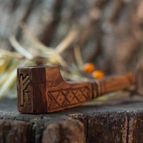 "Vikings Handcarved Rune ""Fehu"" Wood Tobacco Smoking Pipe Ancient Treasures Ancientreasures Viking Odin Thor Mjolnir Celtic Ancient Egypt Norse Norse Mythology"