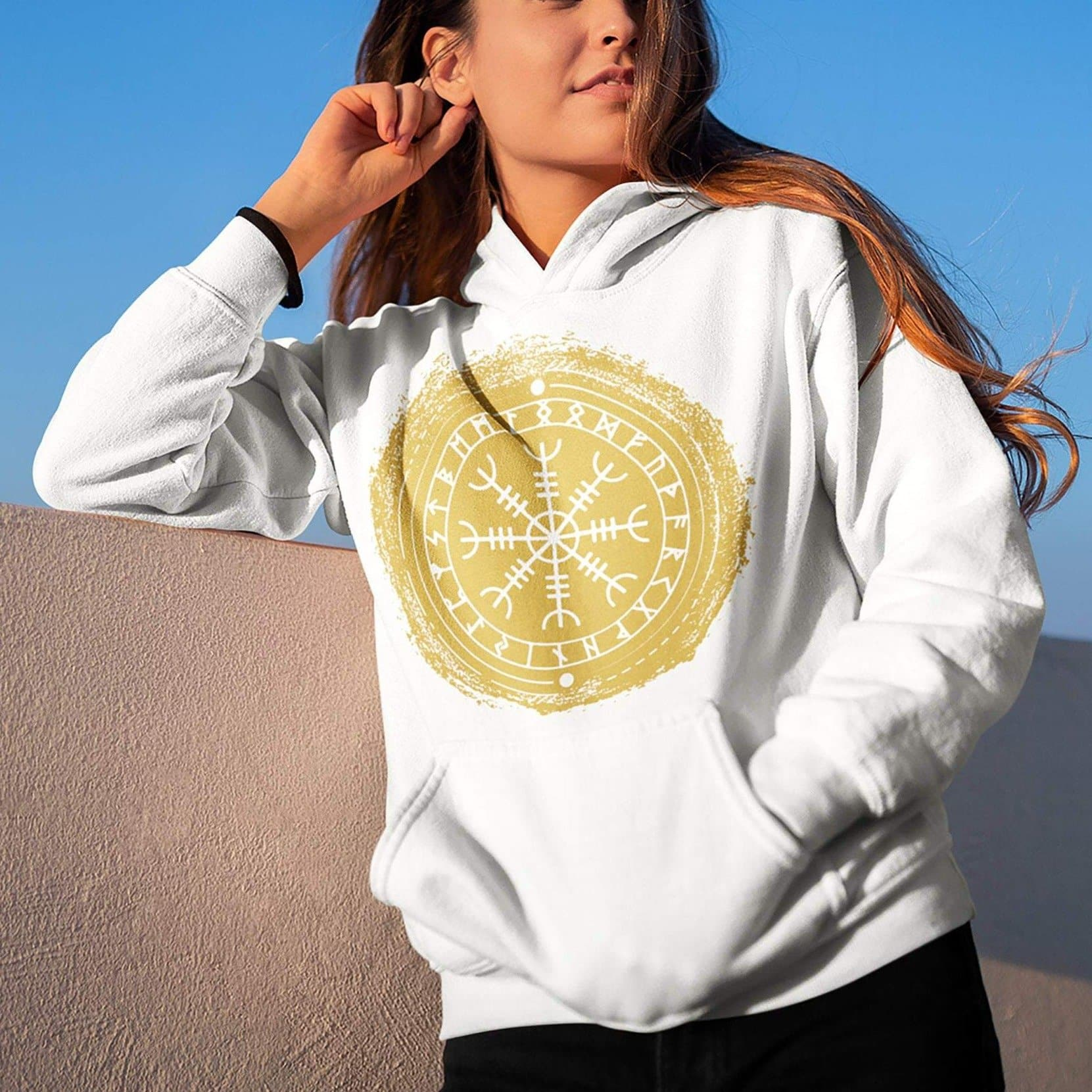 Vikings Helm of Awe - Aegishjalmur Unisex Hoodie Ancient Treasures Ancientreasures Viking Odin Thor Mjolnir Celtic Ancient Egypt Norse Norse Mythology